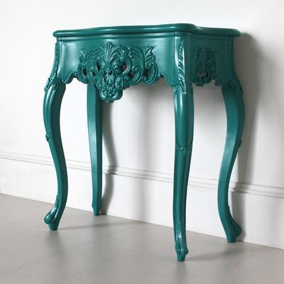 Small French Console Table Curved in Teal image 4