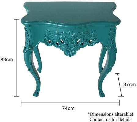Small French Console Table Curved in Teal image 5