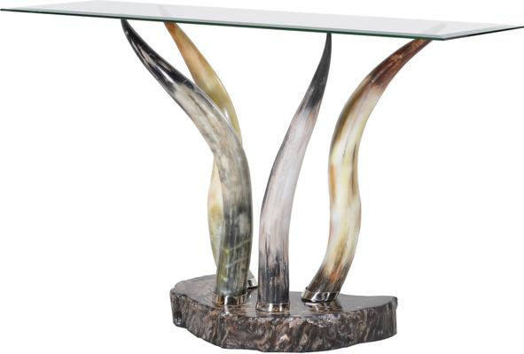 Horn and Glass Console Table