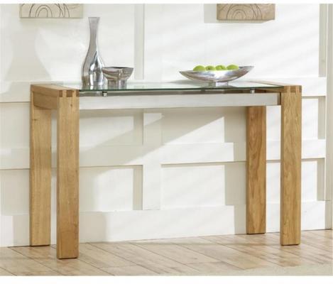 Utah oak and glass console table
