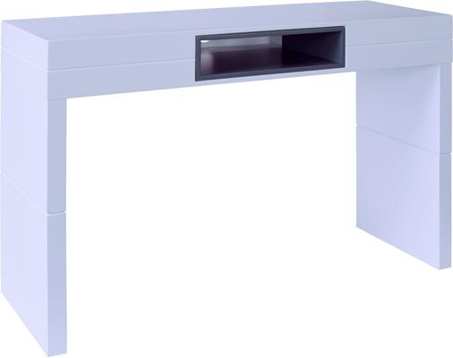 Savoye High console table matt white with graphite grey accent image 2