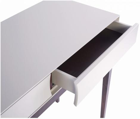 Lux Art Deco Console Table Matt Shaded White Lacquer and Walnut image 2