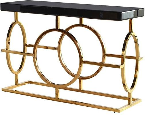Black Glass Topped Console Table with Gold Coloured Steel Frame