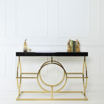 Black Glass Topped Console Table with Gold Coloured Steel Frame image 3
