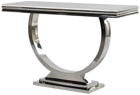 Marble and Stainless Steel Console Table Art Deco
