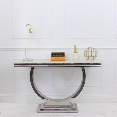 Marble and Stainless Steel Console Table Art Deco image 2