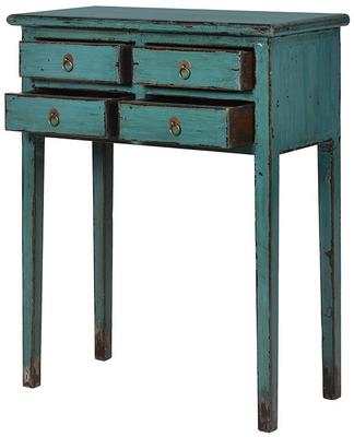 Small Distressed Console Table Four Drawers Turquoise Elm Wood image 2