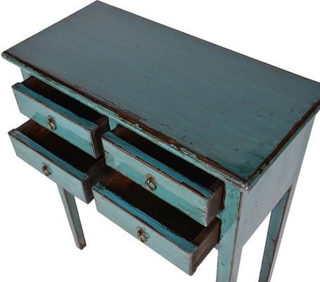 Small Distressed Console Table Four Drawers Turquoise Elm Wood image 3