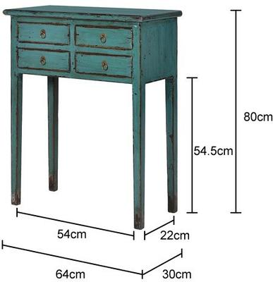 Small Distressed Console Table Four Drawers Turquoise Elm Wood image 4