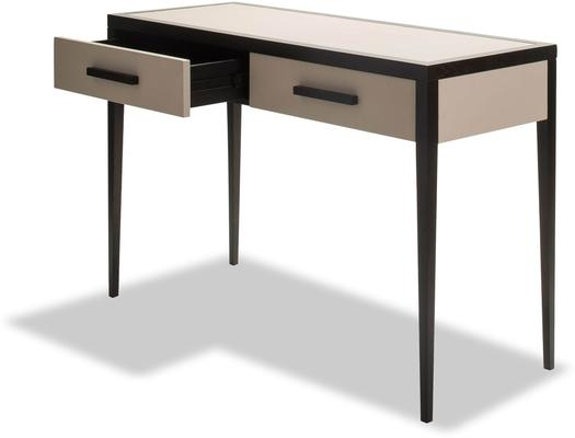 Liza Wenge Oak and Faux Leather Console Table image 3