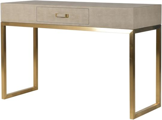 Faux Ostrich Leather Console Table Contemporary Stainless Steel Frame
