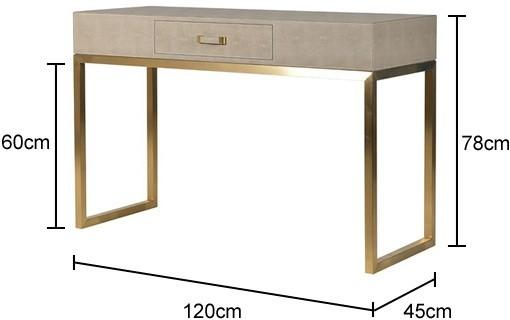 Faux Ostrich Leather Console Table Contemporary Stainless Steel Frame image 3