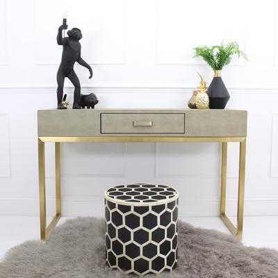 Faux Ostrich Leather Console Table Contemporary Stainless Steel Frame image 4
