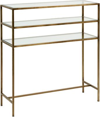 Console Table Metal with Glass Shelves