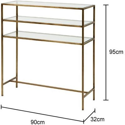 Console Table Metal with Glass Shelves image 2
