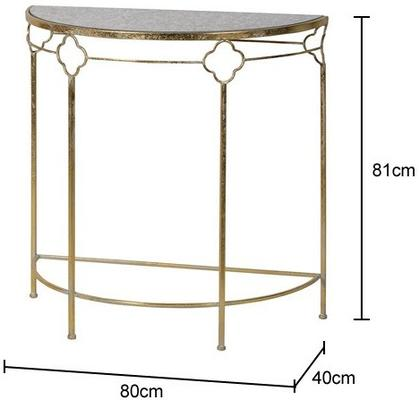 Iron Frame Glass Topped Semi-Circle Console Table image 2