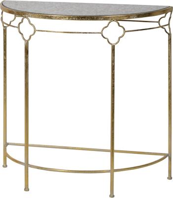 Iron Frame Glass Topped Semi-Circle Console Table