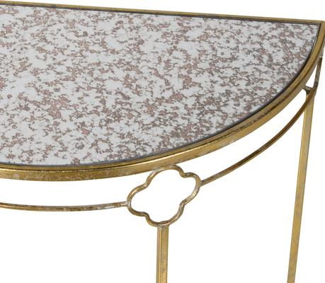 Iron Frame Glass Topped Semi-Circle Console Table image 3