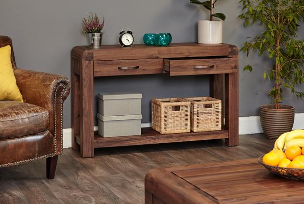 Shiro Walnut Console Table 2 Drawer Rustic image 2