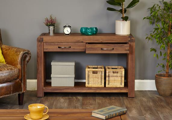 Shiro Walnut Console Table 2 Drawer Rustic image 3