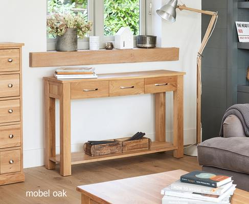 Mobel Solid Oak Modern Console Table 3 Drawers image 2