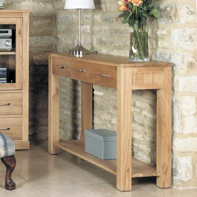 Mobel Solid Oak Modern Console Table 3 Drawers image 3