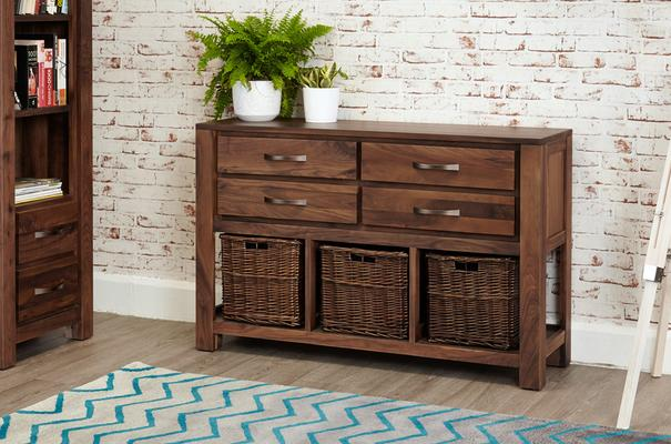 Mayan Walnut Four Drawer Console Table Rustic Style image 2