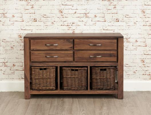 Mayan Walnut Four Drawer Console Table Rustic Style image 3