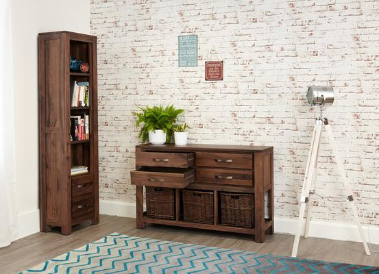 Mayan Walnut Four Drawer Console Table Rustic Style image 4