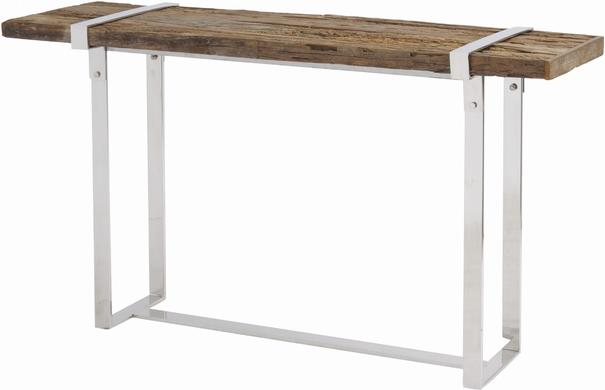 Brixton Reclaimed Sleepers Console Table with Polished Nickel Frame