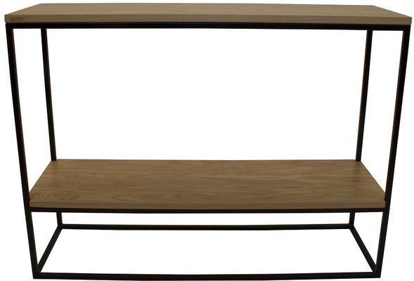 Skinny Console Table with Shelf - Black and Oak Finish image 2