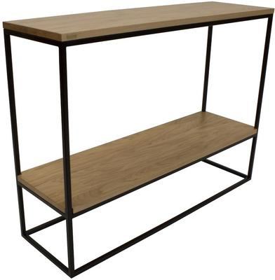 Skinny Console Table with Shelf - Black and Oak Finish