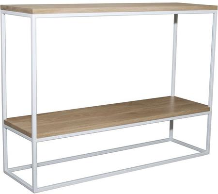 Skinny Console with Shelf - White and Oak Finish