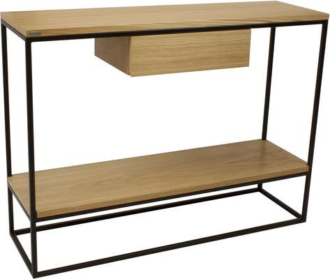 Skinny Console with Shelf and Drawer - Black and Oak Finish image 2