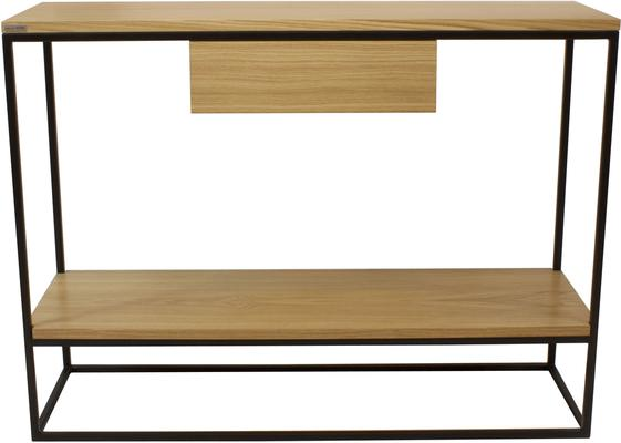 Skinny Console with Shelf and Drawer - Black and Oak Finish