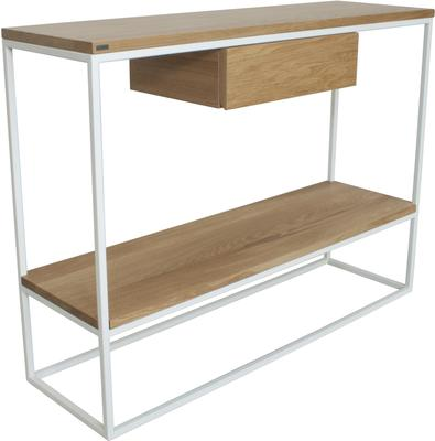 Skinny Console with Shelf and Drawer - White and Oak Finish image 2
