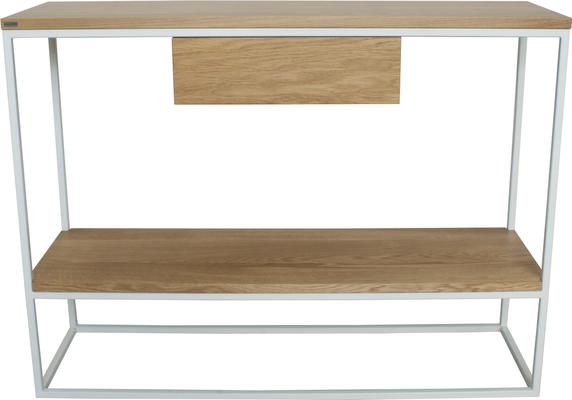 Skinny Console with Shelf and Drawer - White and Oak Finish