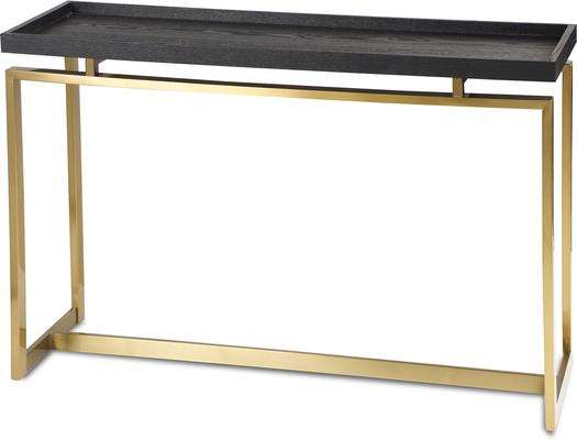 Malcom Console Table - Dark Wood Top Brass or Steel