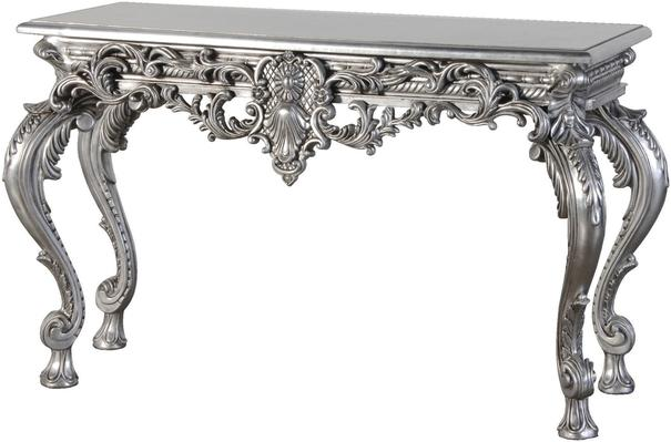 Carved Baroque Console Table in Silver