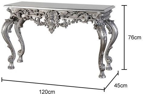 Carved Baroque Console Table in Silver image 2