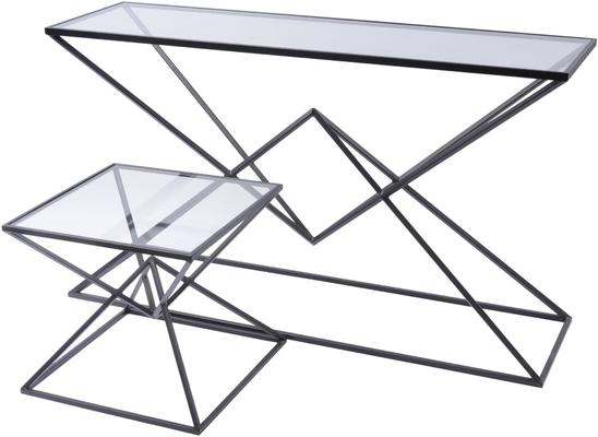 Black Pyramid and Glass Rectangular Console Table image 2
