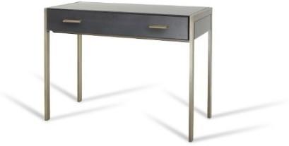 Ettore Console Table Antique Brass Walnut Glass 2 Drawers