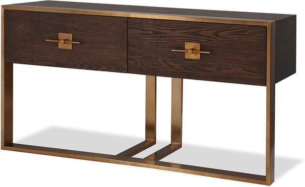Ophir Dark Brown Oak and Brass Console Table