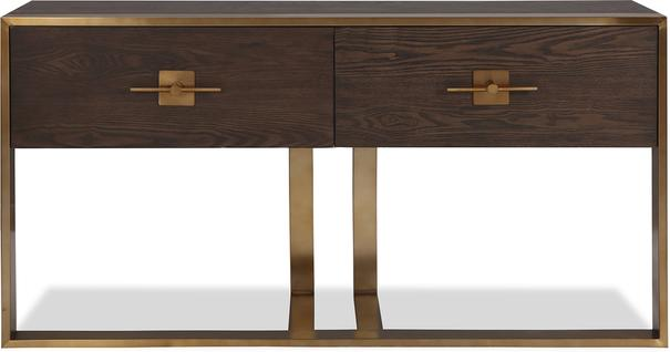 Ophir Dark Brown Oak and Brass Console Table image 2