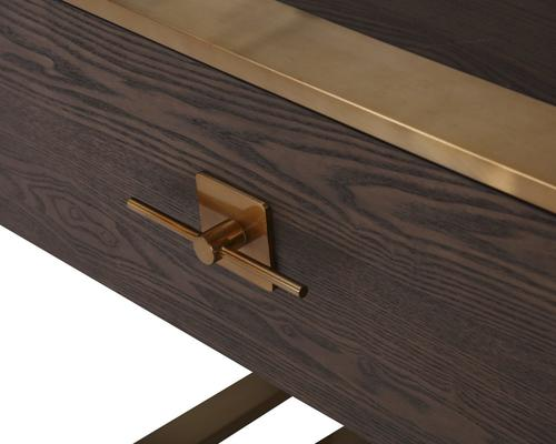 Ophir Dark Brown Oak and Brass Console Table image 4