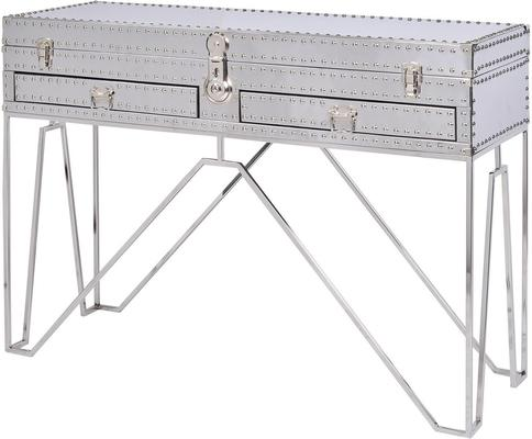 Duke Polished Silver Studded Steel Console Table Two Drawer