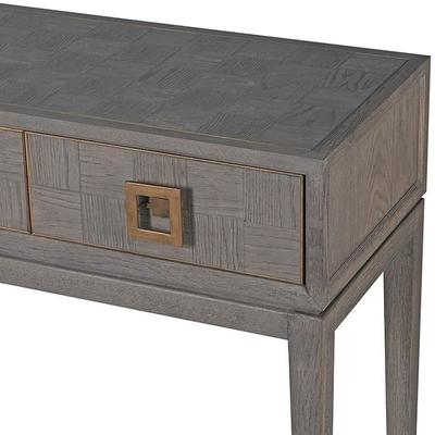 Bardon Oak and Brass Console Table With Drawers image 2