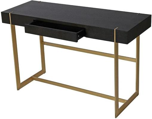 Morcott Black and Brass Desk Console Table image 2