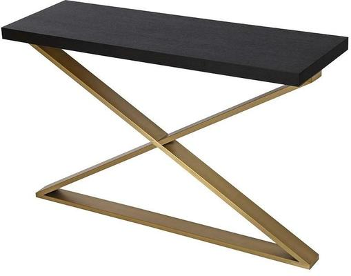 Morcott Storm Polished Steel X Frame Console Table