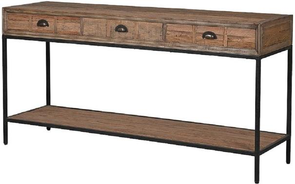 Greenwich Three Drawer Reclaimed Wood Console Table